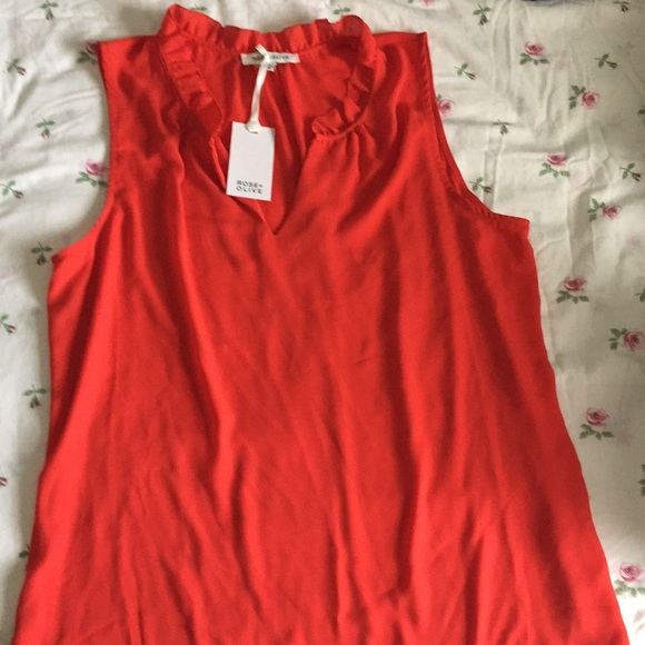 Rose & Olive Tops - Sleeveless Red Blouse
